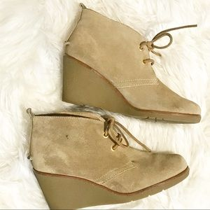 Sperry Topsider Suede Leather Wedge Booties